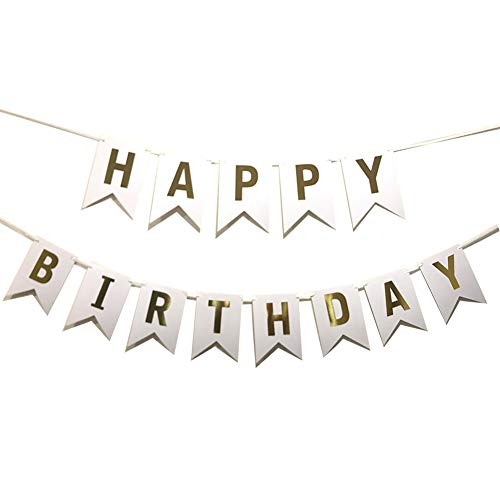 Yichen Xu Lovely Happy Birthday Wall Banner,Versatile, Beautiful, Swallowtail Bunting Flag Garland Surprise Ideas, Birthday Party Decorations and Supplies(White) ()