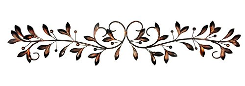"Bellaa 21956 Metal Wall Decor Olive Branch Over The Door 48"" x 9"" Inches"