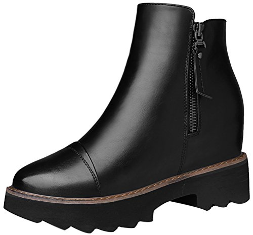 Women's Round Toe Flat Brogue Martin Boots London Ankle Boots Black - 6