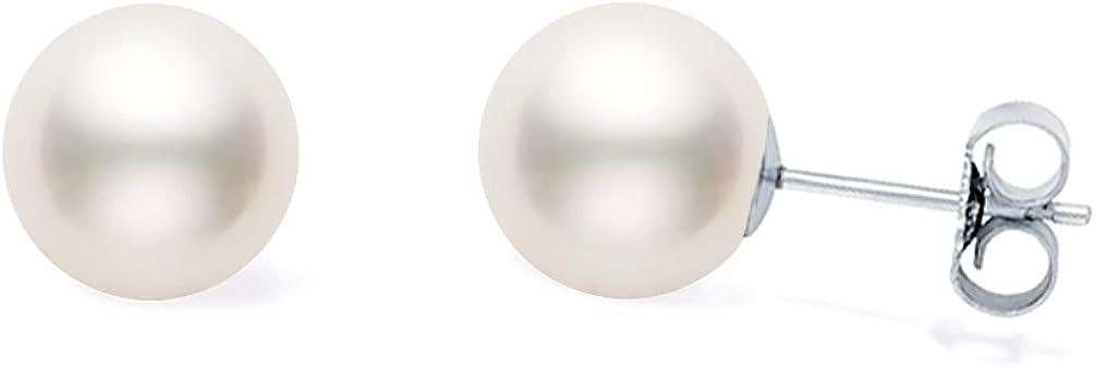 Pendientes de tuerca de oro de 14 quilates con perla cultivada de Akoya blanca japonesa