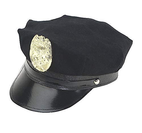 - Jacobson Hat Company Police Hat with Bright Gold Plastic Badge - Black