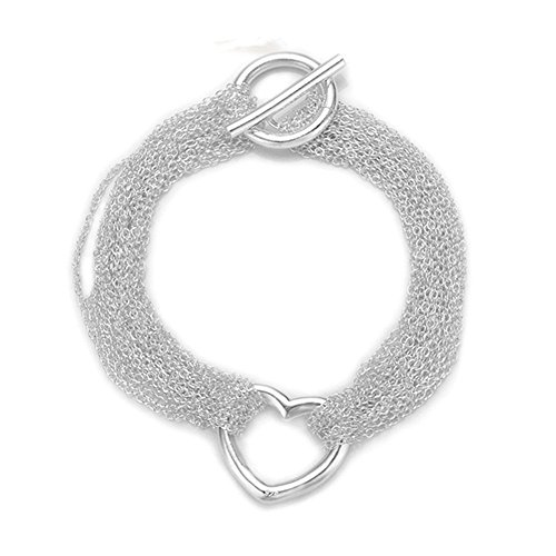 - HMILYDYK Hot Fashion Jewelry T bar Heart Multiple Chains 925 Sterling Silver Bracelet