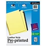 Gold Reinforced Leather Tab Dividers, 25-Tab, A-Z, Letter, Black, 25/Set, Sold as 25 Each