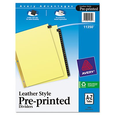 Avery Products - Avery - Gold Reinforced Leather Tab Dividers, 25-Tab, A-Z, Letter, Black, 25/Set - Sold As 1 Set - Gold color printing on front and back of tabs. - Gold reinforced binding edge to prevent tearing. - Three-hole punched for use in standard ring binders.