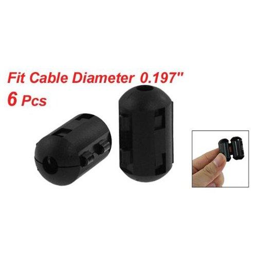 TOOGOO 6pzs Filtro de nucleo de ferrita de ruido EMI RFI de clip de oreja para 5 mm cable Filtro R