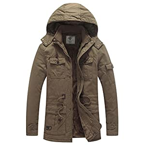 WenVen Men's Winter Thicken Cotton Parka Jacket with Removable Hood