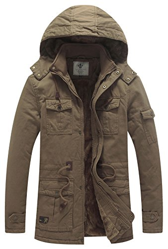 WenVen Men's Winter Thicken Cotton Parka Jacket with Removable Hood B-Khaki XL