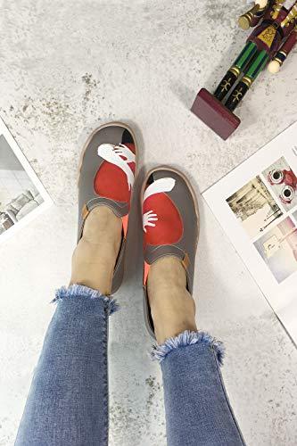 Respirable Gris Para Caminar Calido Microfibra Uin Zapatos Corazon gfqwxYt
