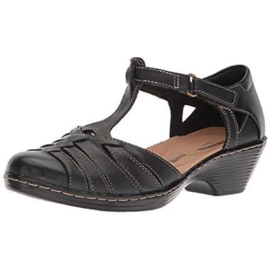 CLARKS Women's Wendy Alto Fisherman Sandal, Black Leather, 9 Medium US