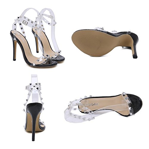 Alto Clear Party Boda Slingback Zapatos De Hope Tacón Toe Mujeres Open Sandalias Black Dress Remaches Evening Fw78p4W