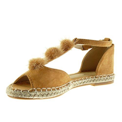 Angkorly - Scarpe da Moda sandali Espadrillas Peep-Toe cinturino donna pon pon corda ricamo Tacco a blocco 2 CM - Cammello