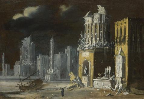 oil-painting-franois-de-nome-fantastic-ruins-with-saint-augustine-and-the-child1623-12-x-17-inch-30-