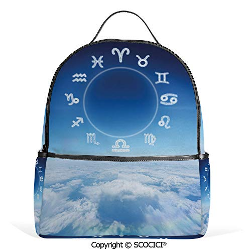 Casual Fashion Backpack Zodiac Signs Aquarius Pisces Aries with Sky Clouds Backdrop Art Print Decorative,Sky Blue and White,Mini Daypack for Women & Girls