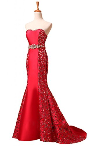 Bride Mermaid Dresses Luxurious Angel Wedding Reception Belted Red for Evening qd6YYR