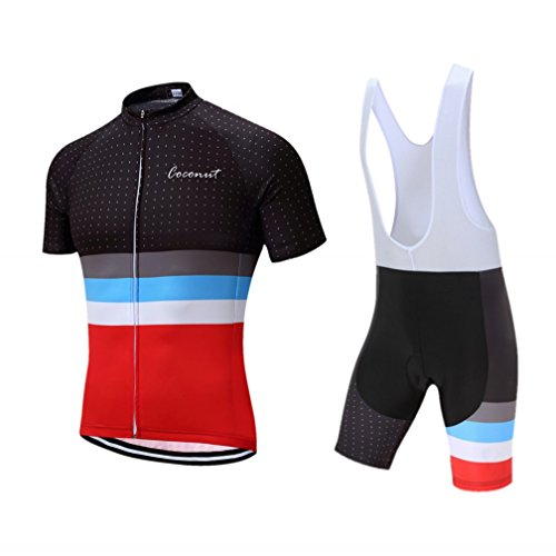 Coconut Pro Team Men's Cycling Jersey Bib Shorts With 3D Padded (X-Large, -