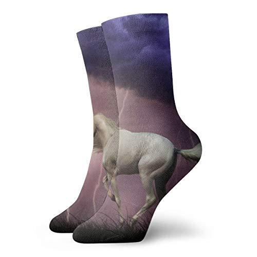 (White Horse Thunder Sky High Crew Socks Team Running Stocking Sthletic Outdoor Sports)
