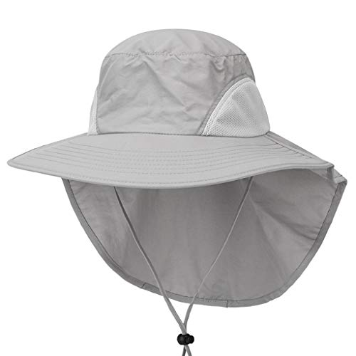 TIANMI Unisex Solid Wide Brim Sun Hat with Neck Flap Fishing Safari Cap for Fishing Cap Outdoor Hiking Light Gray