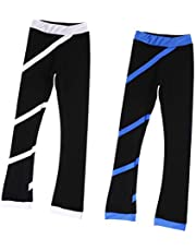 Perfeclan 1 Pair Ice Skating Pants Polar Kids Skate Training Tights Leggings White/Blue