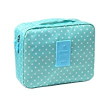 iSuperb Multi-function Big Capacity Makeup Cosmetic Bag Portable Toiletry Travel Kit Organizer (Green Dots)