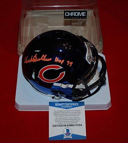 (Dick Butkus Chicago Bears Autographed Signed Chrome Mini Helmet - Beckett Authentic Memorabilia Hof 79 )