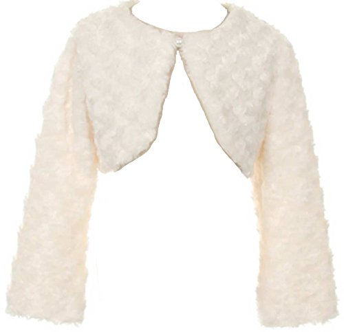 Little Girls Adorable Faux Fur Pearl Button Bolero Jacket Shrug Winter Ivory Size 6 -