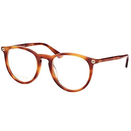 Gucci GG 0027O 001 Transparent Havana Plastic Round Eyeglasses - Gucci Transparent
