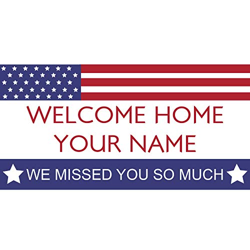 (BANNER BUZZ MAKE IT VISIBLE Welcome Home We Missed You So Much Personalized Name Banner 11 Oz High Quality Vinyl PVC Flex Banners with Hemmed Edges & Metal Grommets Free (3' X 2'))