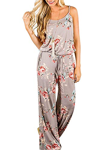 Artfish Women Sexy Sleeveless Spaghetti Strap Floral Printed Summer Jumpers Jumpsuit with Pocktes (4l#Khaki, L)