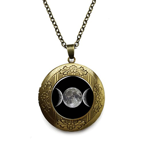 Vintage Bronze Tone Locket Picture Pendant Necklace Triple Moon Cameo Included Free Brass Chain Gifts Personalized