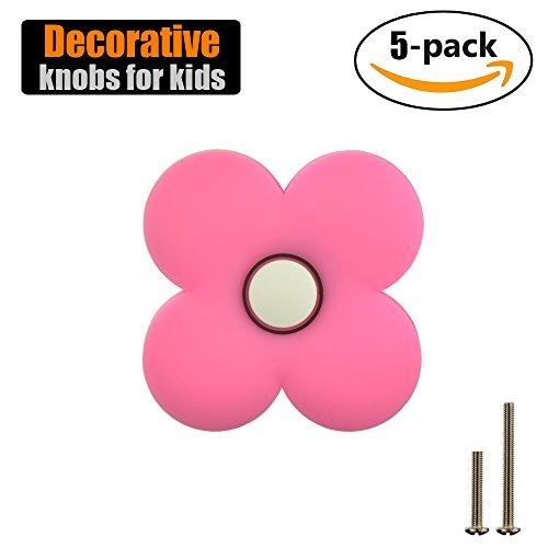 JQK Cabinet Knobs for Kids, Decorative Pink Dresser Knobs 5 Pack with PVC Safety Soft Pattern, CKK-PK-P5 (Knobs Childrens)