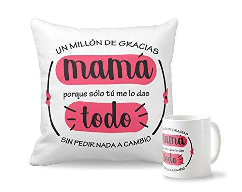 Pack Taza + cojín Día de la Madre | Cojín Personalizado de 40 x 40 cm + Taza de Desayuno de cerámia Regalo Original para el Día de la Madre