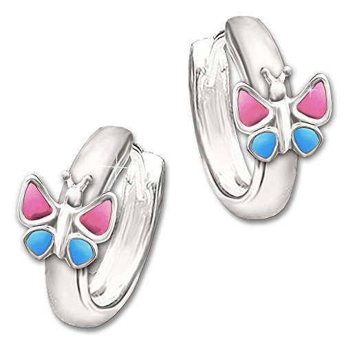 Juego de joyas Clever Silberne Kinde rcreolen mariposa rosa azul con colgante a juego y cadena tanque 38cm plata de ley 925en estuche