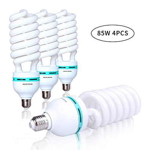 4 x 85W Full Spectrum Lighting Bulb 5500k CFL Pure White Daylight Portrait Video Studio Continuous Lighting