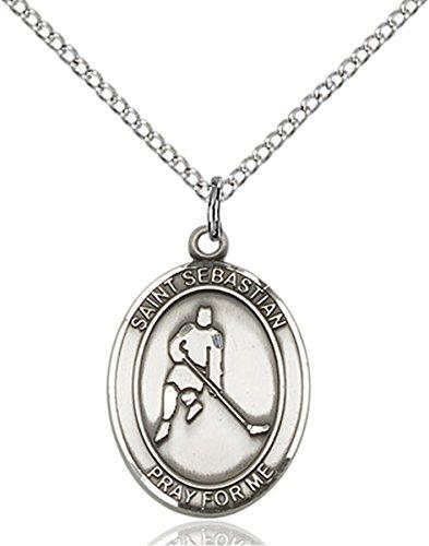 Sterling Silver Saint Sebastian Ice Hockey Medal Pendant, 3/4 Inch