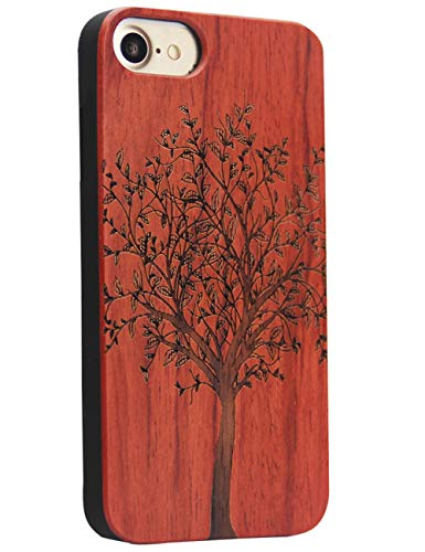 YFWOOD Compatible for iPhone 7/8 Wood Case, Real Wood Engraving Tree Soft Rubber Cushion Shock Absorption Flexible Anti-Scratch Bumper Protective for iPhone 7/8 Case -