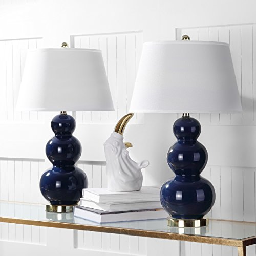 Gourd Lamp Ceramic Table (Safavieh Lighting Collection Pamela Triple Gourd Ceramic Table Lamp, Navy Blue, Set of 2)