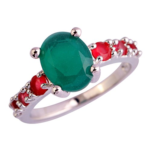 Ring Silver Green Plated (Emsione 925 Sterling Silver Plated Created Green Sapphire Quartz Womens Ring)