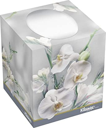 """Kimberly-Clark Kleenex 21269 Boutique Facial Tissue with Floral Box, 5"""" Height x 4.375"""" Width x 4.375"""" Length, White (36 Boxes of 95)"""