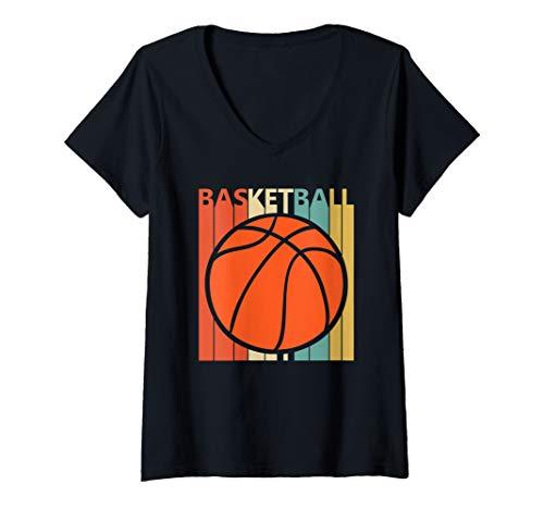 Womens Vintage Basketball Ball shirt - Basketball Player Gift V-Neck T-Shirt