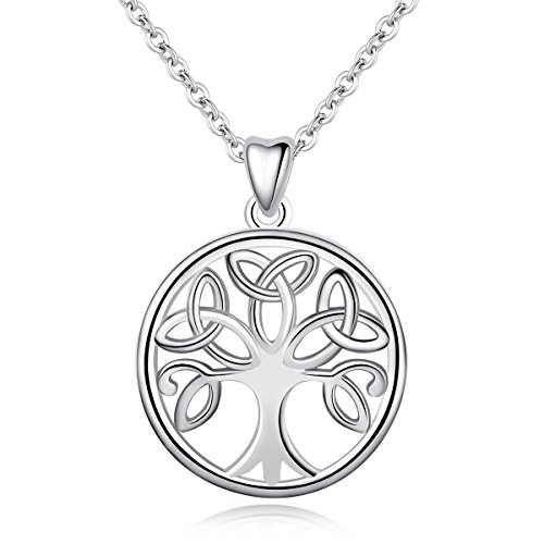 INFUSEU Sterling Silver Family Tree of Life Celtic Knot Trinity Triquetra Triangle Pendant Necklace Stylish Circle Jewelry