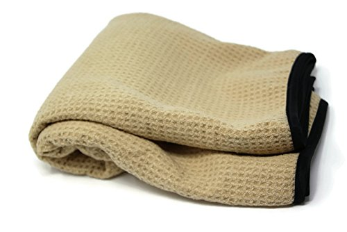 Sarge's Car Care .50 CAL CAR DRYING TOWEL - XL-Size (27 in x 39 in) - Premium Silk Bound Waffle Weave Microfiber for Maximum Absorption - Bound in Silk to (Meguiars Water Magnet)