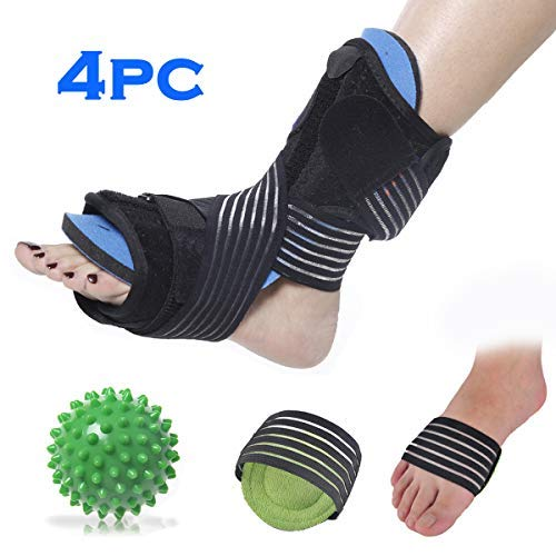 Plantar Fasciitis Night Splint Foot Orthotic Supports Kits – Adjustable Elastic Strap Plantar Fasciitis Braces + Spiky Massage Ball + Arch Supports (2 PCS) for Relieve Planter Fascitis Pain, Foot Spra