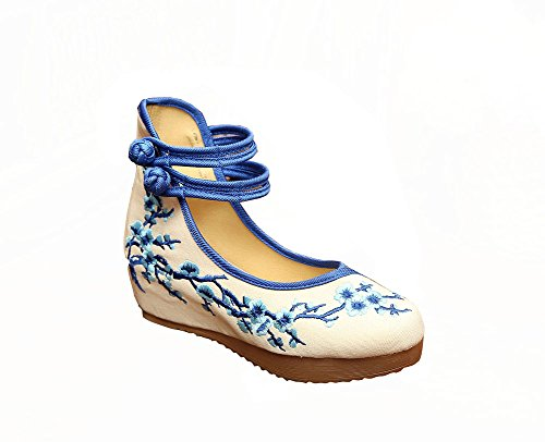 Blue Wedge Shoes for Women Chinese Shoes Platform Prom Walking Embroidered Flower Dance Plum 0q7wrqZI