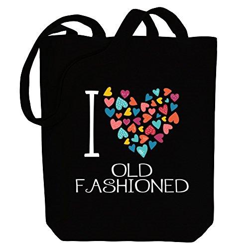 Idakoos I love Old Fashioned colorful hearts - Getränke - Bereich für Taschen