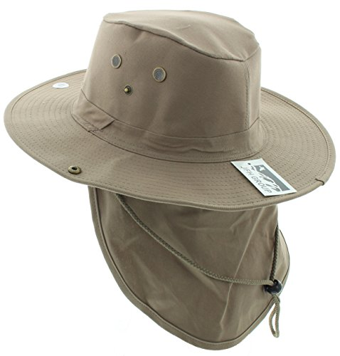 Wide Brim Unisex Safari/Outback Summer Hat w/Neck Flap (Large, Khaki Solid)