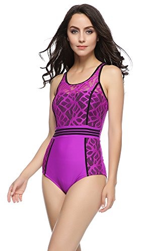 FIGRACE Women's Fashion Inspired Swimsuit Swimwear Cover Up Plus Waterproof Bag (L(US 12-14), PURPLE)