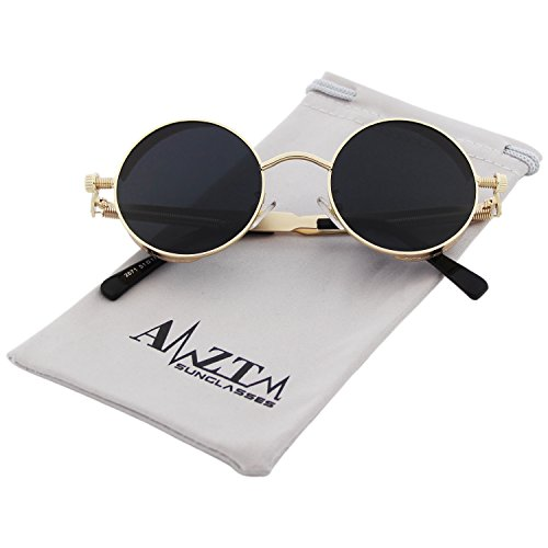 AMZTM Small Round Metal Frame Mirrored Reflective Lens Polarized Sunglasses For Women and Men (Golden Frame and Grey Lens, - Sunglasses Fantasy