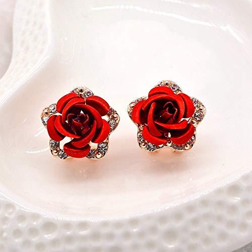 (You May Women Girls Rose Shape Earrings Rhinestones Crystal Ear Clip Pin Alloy Stud Jacket Spike Jewelry)