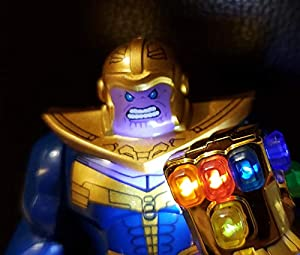BlingBlingBrick Marvel Avengers Super Heroes - Thanos Minifigure with Handmade LED Infinity Gauntlet 76107 - Lego Size