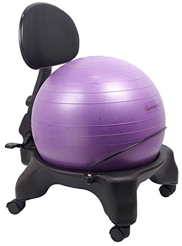 Isokinetics Inc. Adjustable Back Exercise Ball Office Chair - Standard Frame Height - with Purple 52cm Ball - Office size 60mm/2.5'' wheels - w/Starter Pump and Ball Measuring Tape by Isokinetics
